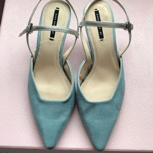 Zara baby blue pointed slingback shoes size 37